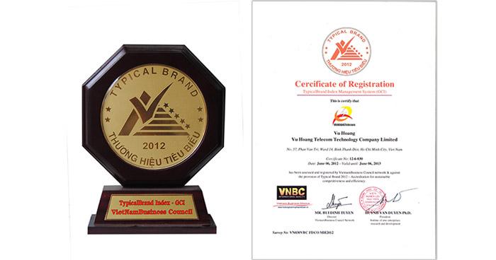 Thành tích giải thưởng Typical Brand – Thương hiệu tiêu biểu 2012