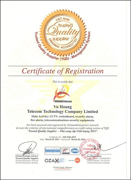 Thành tích chứng nhận Trusted Quality Supplier – Nhà cung cấp chất lượng 2013