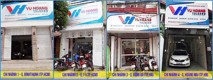 Hình ảnh mặt tiền 4 chi nhánh Vuhoangtelecom tại Tp.HCM và Tp.HN