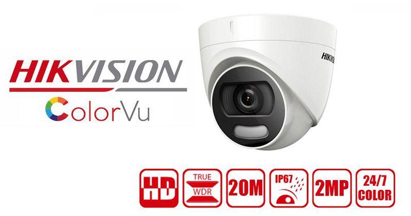 Camera HDTVI Colorful 2MP HIKVISION DS-2CE72DFT-F