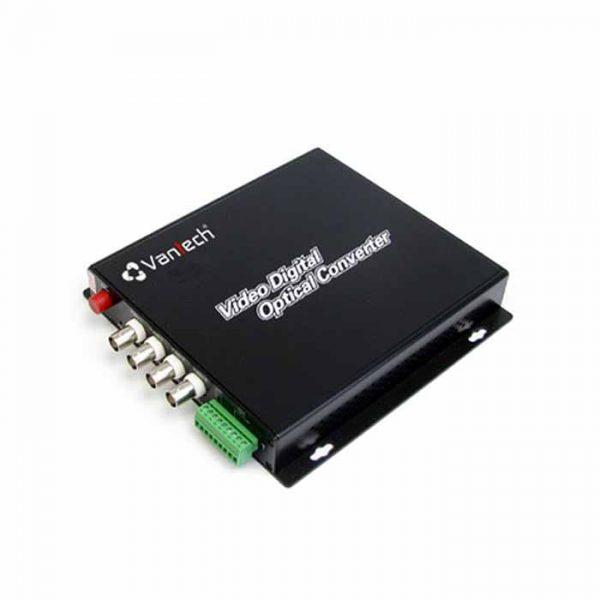Bộ chuyển cáp quang VANTECH VTF-04 là bộ truyền tín hiệu từ nhập cáp quang 4 kênh Video & 4 kênh Data
