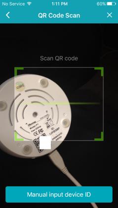 Soi camera vào Bar Code dưới đáy camera để lấy thông tin ID camera.