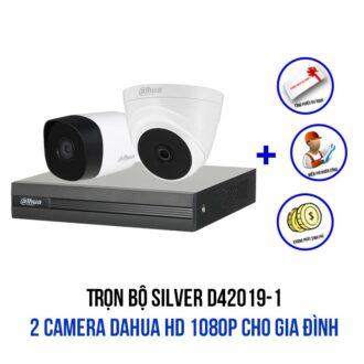 Lắp trọn bộ 2 camera DAHUA HD 1080P gói SILVER D42019-1 giá rẻ