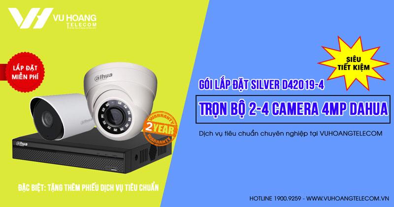 Trọn bộ 2 camera DAHUA 4MP cho bệnh viện (SILVER D42019-4)
