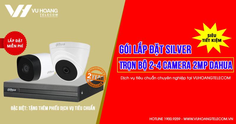 Trọn bộ 2 camera DAHUA HD1080P cho gia đình (SILVER D42019-1)