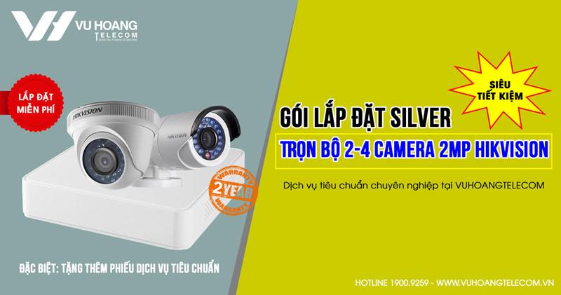 Trọn bộ 2 camera Hikvision HD1080P gói SILVER H42019-2