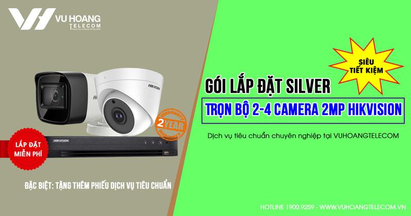 Trọn bộ 2 camera HIKVISION HD1080P gói SILVER H42019-3