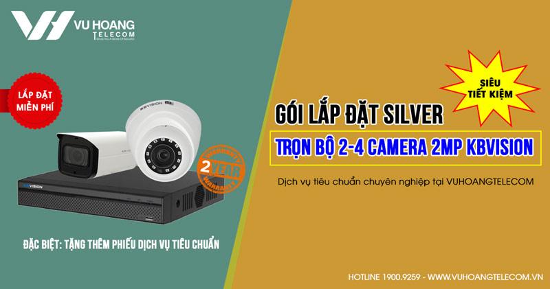 Trọn bộ 2 camera Kbvision HD1080P cho trường học (SILVER K42019-3)