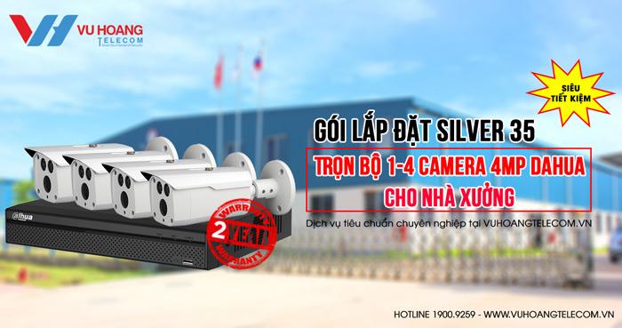 Trọn bộ camera 4MPDahuacho nhà xưởnggói Silver 35
