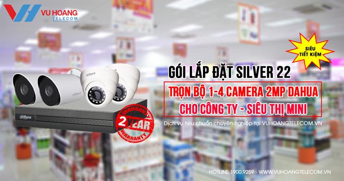 Trọn bộ camera DAHUA 2MP gói Silver 22 giá tốt