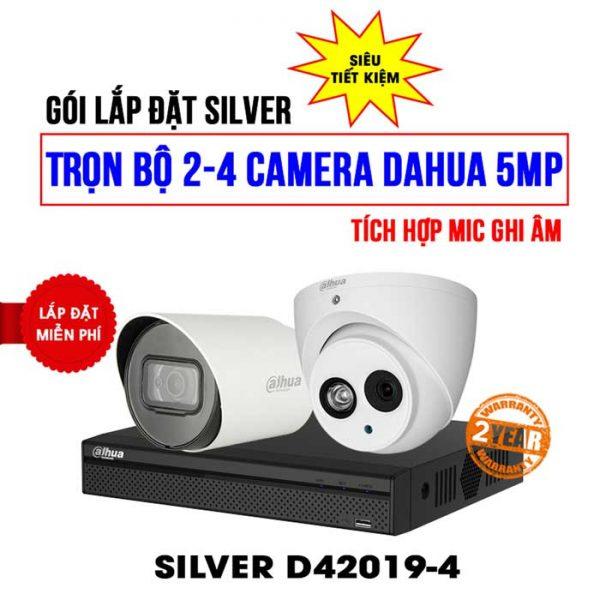 Trọn bộ camera DAHUA 5MP SILVER D42019-4 tích hợp mic