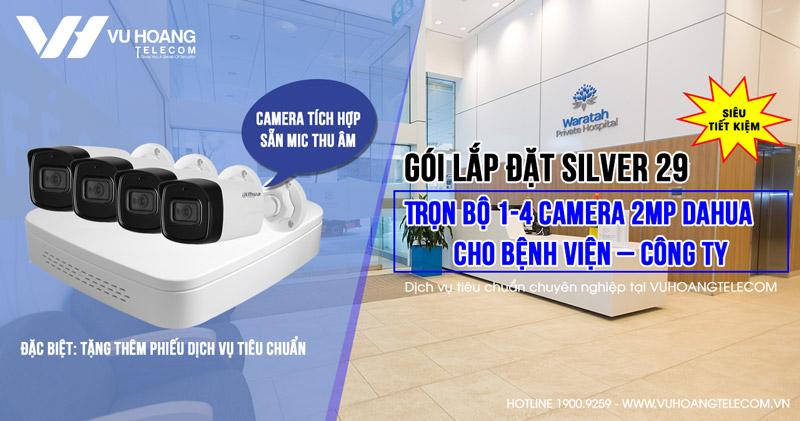 Trọn bộ camera 2MP DAHUA cho Bệnh viện - Công ty (Gói Silver 29)