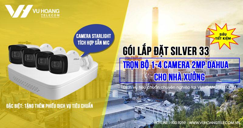 Trọn bộ camera 2MP Starlight Dahua có sẵn mic cho Nhà xưởng