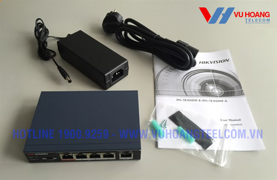 Switch POE 4 cổng HIKVISION DS-3E0105P-E