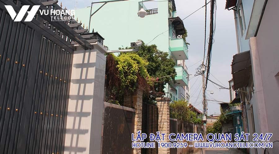 Camera giám sát đường phố sau khi đã lắp đặt hoàn chỉnh.