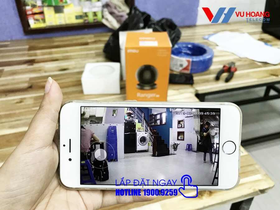 Hình ảnh lắp đặt camera Wifi Ranger Pro xem trên điện thoại