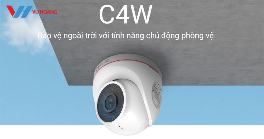 Camera C4W lắp đặt được trong nhà và ngoài trời, chịu được nắng mưa, thời tiết xấu