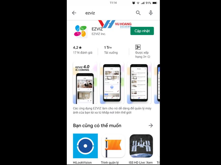 Tải app Ezviz về điện thoại và đăng nhập tài khoản