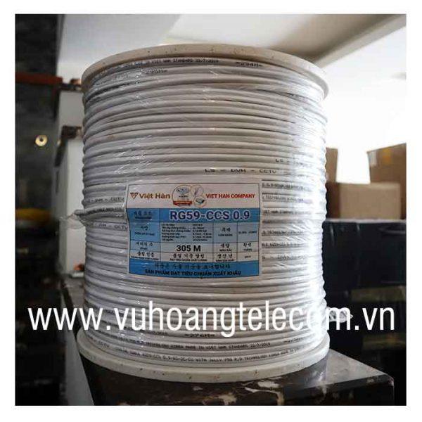 Cáp đồng trục liền nguồn Việt Hàn RG59-CCS 0.9