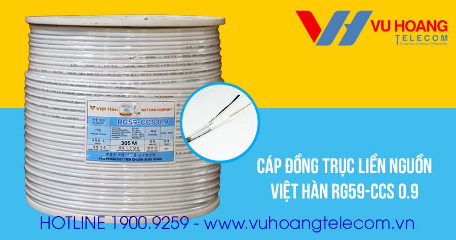 Cáp đồng trục liền nguồn Việt Hàn RG59-CCS 0.9 giá rẻ