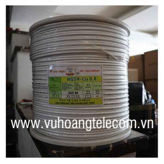 Cáp đồng trục liền nguồn Việt Hàn RG59-Cu 0.8