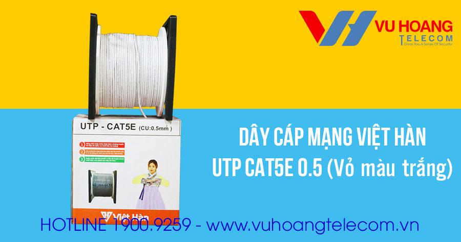 Dây cáp mạng Việt Hàn UTP CAT5E 0.5 vỏ màu trắng
