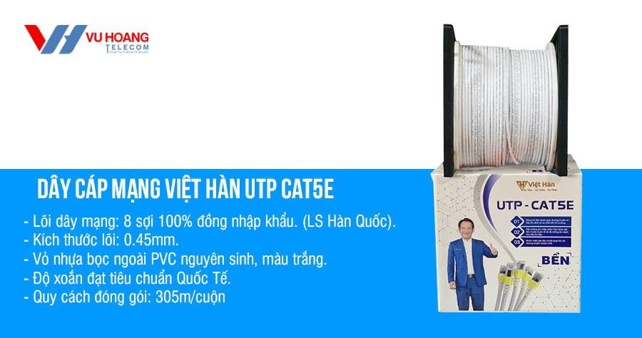 Bán cáp mạng Việt Hàn UTP CAT5E vỏ màu trắng chính hãng, giá rẻ