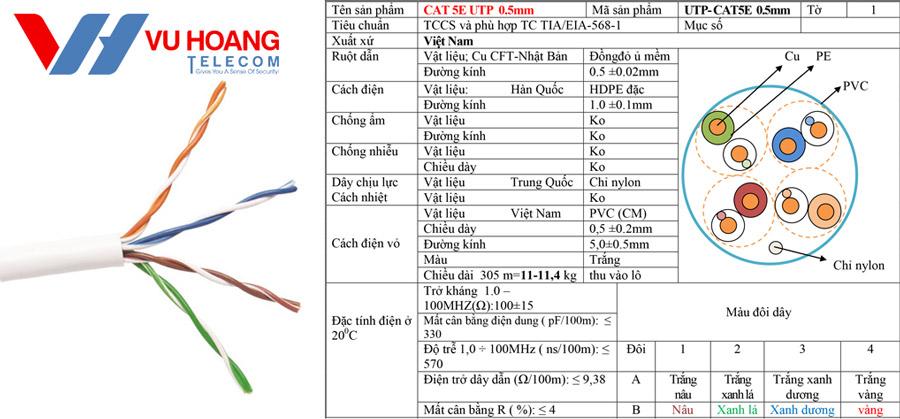Thông số kỹ thuật dây cáp mạng Việt Hàn UTP CAT5E 0.5mm