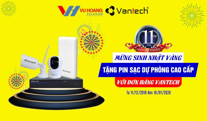 Khuyến mãi tặng pin sạc dự phòng khi mua camera VANTECH