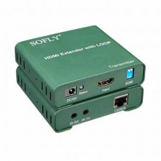 Bộ kéo dài HDMI Sofly 50 mét bằng cáp mạng tích hợp chia 2 HDMI