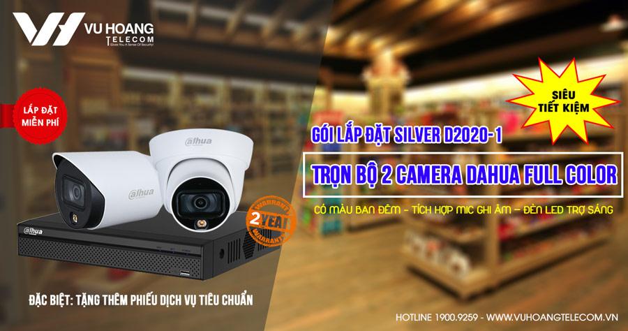 Lắp đặt trọn bộ 2 camera Dahua 2MP Full Color (SILVER D2020-1)