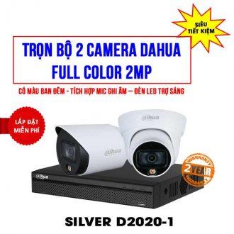 Trọn bộ 2 camera Dahua 2MP Full Color (SILVER D2020-1)