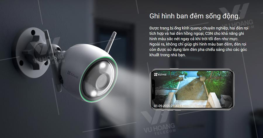 Camera EZVIZ C3N 1080P ghi hình ban đêm sống động