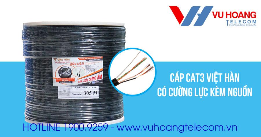 Dây cáp CAT3 cường lực kèm nguồn Việt Hàn
