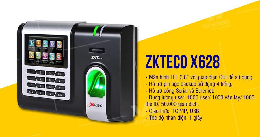 Máy chấm công vân tay ZKTECO X628
