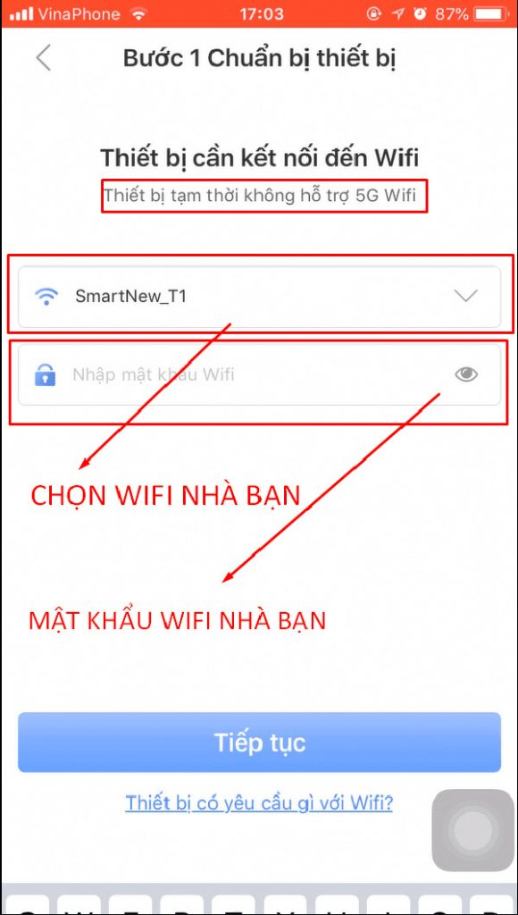 Kết nối với mạng Wifi nhà / cơ quan bạn