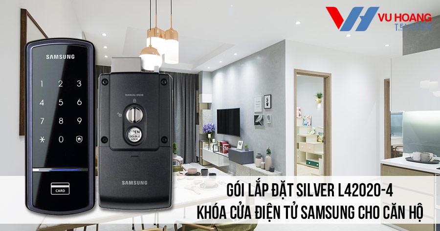 Lắp đặt khóa điện tử SAMSUNG cho căn hộ giá rẻ (SILVER L42020-2)