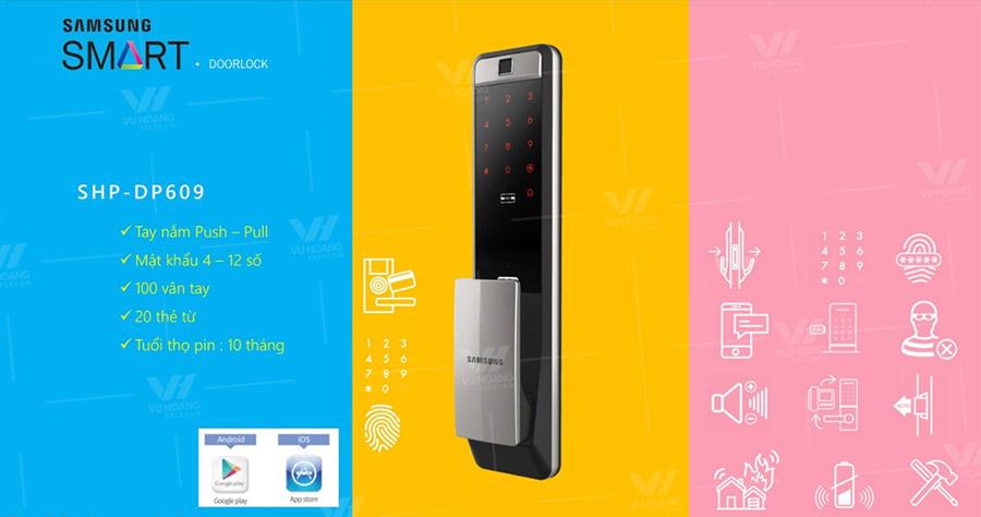 Khóa cửa điện tử Wifi SAMSUNG SHP-DP609AS/EN
