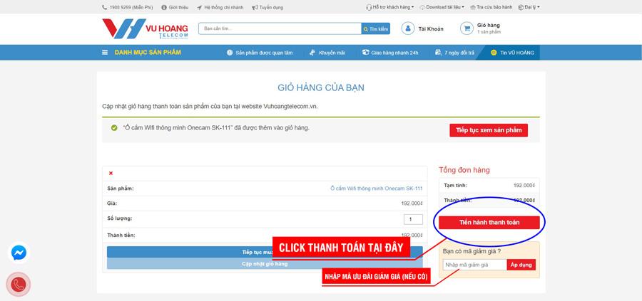 Chọn thanh toán mua sản phẩm trên website Vuhoangtelecom