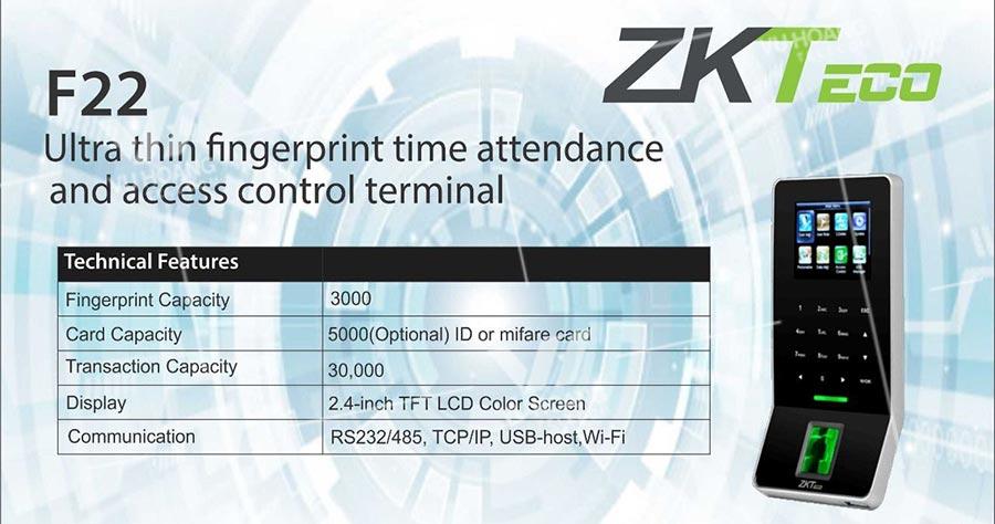 Thiết bị kiểm soát ra vào ZKTECO F22