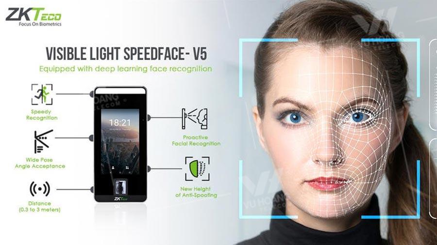 Máy chấm công bằng khuôn mặt ZKTECO SpeedFace-V5