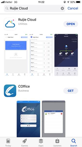 """Tải App """"Ruijie Cloud"""" trên AppStore hoặc GooglePlay"""