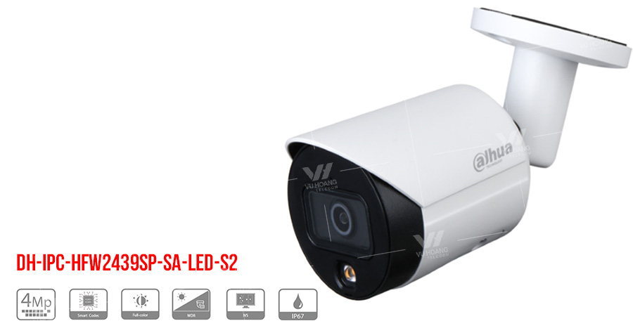 Camera IP Full-Color 4MP DAHUA DH-IPC-HFW2439SP-SA-LED-S2