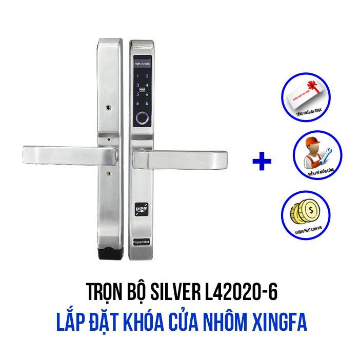 Lắp đặt khóa cửa nhôm Xingfa gói SILVER L42020-6