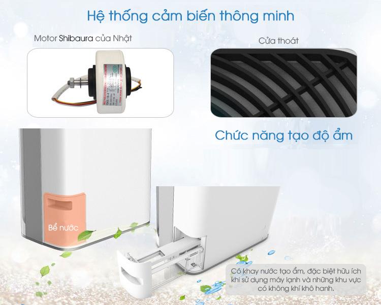 GM-WAP325W có thiết kế hộc khay nước tạo độ ẩm