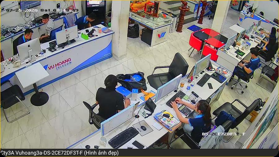 Vuhoangtelecom demo camera DS-2CE72DF3T-F thực tế tại văn phòng