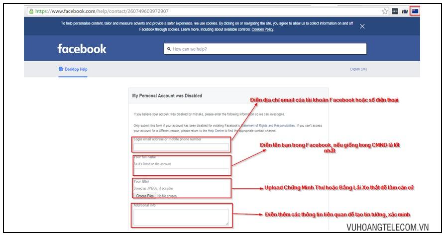 cach lay lai nick Facebook bi khoa qua chung minh thu hoac bang lai