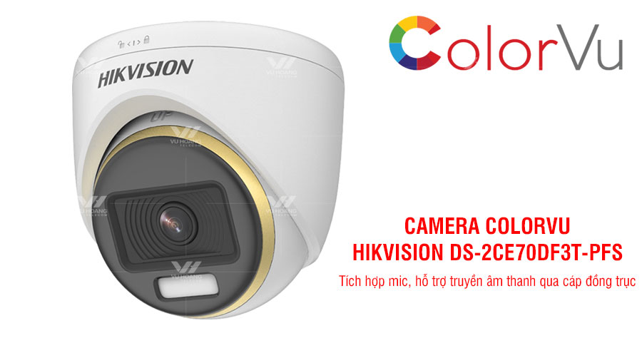 Camera HDTVI ColorVu 2MP HIKVISION DS-2CE70DF3T-PFS giá rẻ