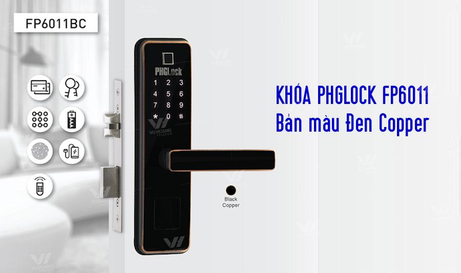 Khóa cửa vân tay PHGLOCK FP6011BC bản màu Đen