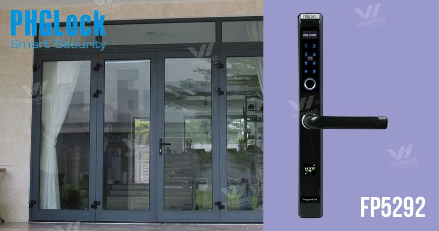 Khóa cửa vân tay cho cửa nhôm PHGLOCK FP5292 (Đen)